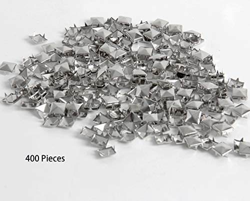 Happy Shop 400 Pieces Silver Square Stud Rivet Punk Spikes Spots Pyramid Studs for Leathercraft,DIY ()