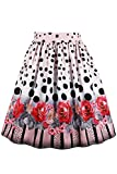 Babyonlinedress Ball Gown Midi Floral Print Flared Skirt for Juniors Cocktail Party Polka Dot XL