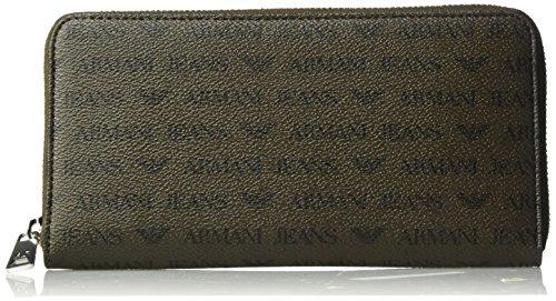 Armani Jeans Men's Safiano Embossed Pu Round Zip - Armani Brown Bag