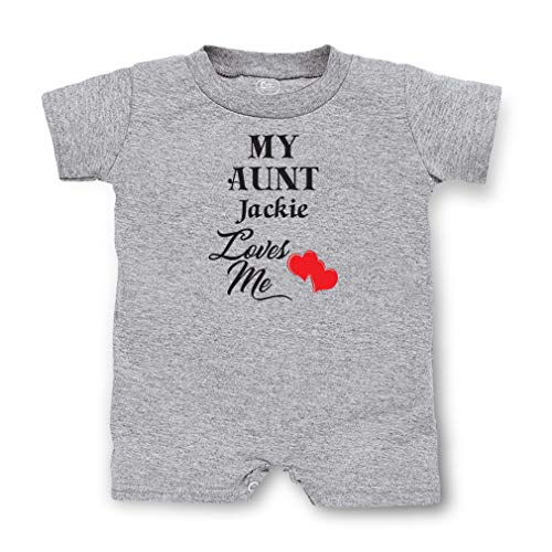 - Personalized Custom Family My Aunt Jackie Loves Me Cotton Short Sleeve Tapped Neck Boys-Girls Infant T-Romper Jersey Tee - Oxford Gray, 6 Months