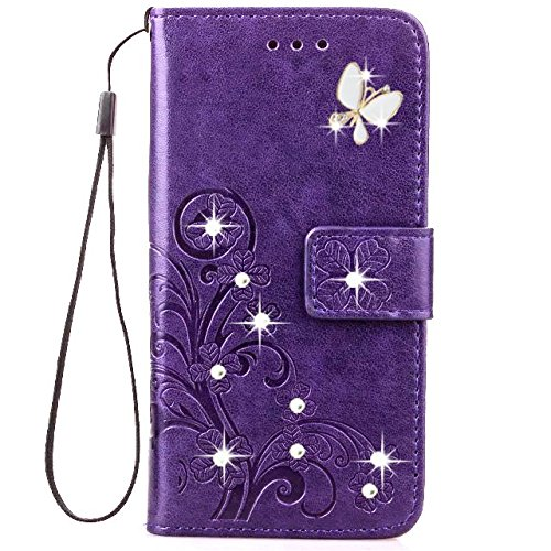 HAOTP Beauty Luxury 3D Handmade Bling Crystal Rhinestone Butterfly Fashion Floral Lucky Flowers PU Flip Stand Credit Card ID Holders Wallet Leather Ca…