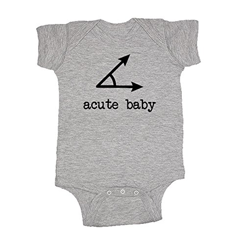 (We Match! Unisex Baby Acute (A Cute) Baby Acute Angles (Matches The Acute Daddy & Acute Baby Set) Bodysuit (Sport Grey, 12 Months))