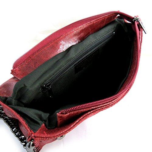 Color Cm 21x11x5 Cuero De 'scarlett'de Brillante Rojo Bolso UtxPFwaqq