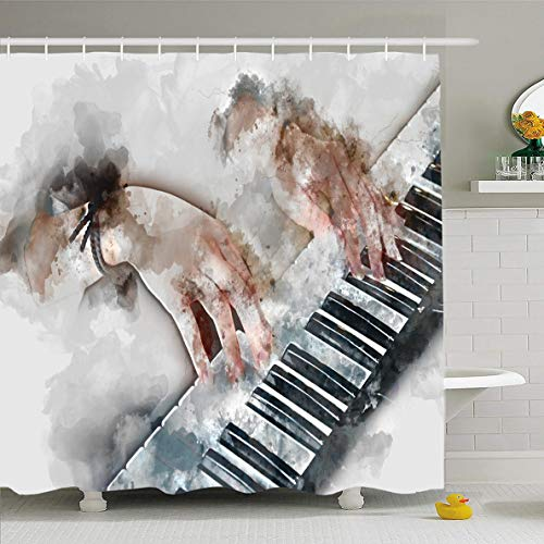 Ahawoso Shower Curtain 66x72 Inches Performer Watercolor Jazz Abstract Hand Playing Keyboard Music Band Blues Brush Chord Key Waterproof Polyester Fabric Set with Hooks -