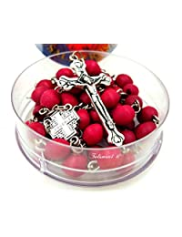 BLESSED CATHOLIC ROSARY NECKLACE Red Rose Scented Wood Beads Jerusalem Cross Crucifix Gift Box