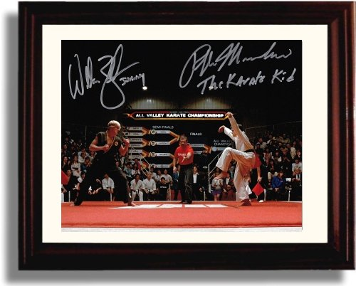 Framed Ralph Machio and William Zabka Autograph Replica Print - Karate Kid - Kid Movie Poster