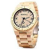 GBlife Bewell ZS - W065A Lightweight Vintage Wooden Watch Men Quartz Luminous Pointers Wrist Watch (Ebony Wood)