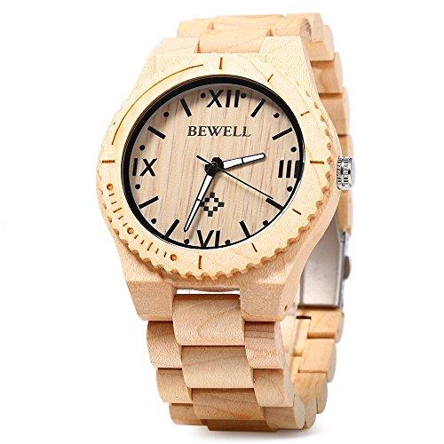Price comparison product image Bewell W065A Lightweight Vintage Wooden Watch Men Quartz Luminous Pointers Wrist Watch (Maplewood)