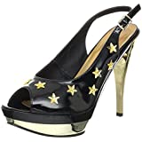 5 Inch Black Sexy Shoes Slingback Sandals With Stars Chrome Heel