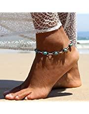 Nicute Boho Turquoise Anklet Silver Ankle Bracelets Summer Beach Foot Jewelry for Women and Girls