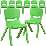 Flash Furniture 8 Pk. Green Plastic Stackable School Chair with 12'' Seat Height