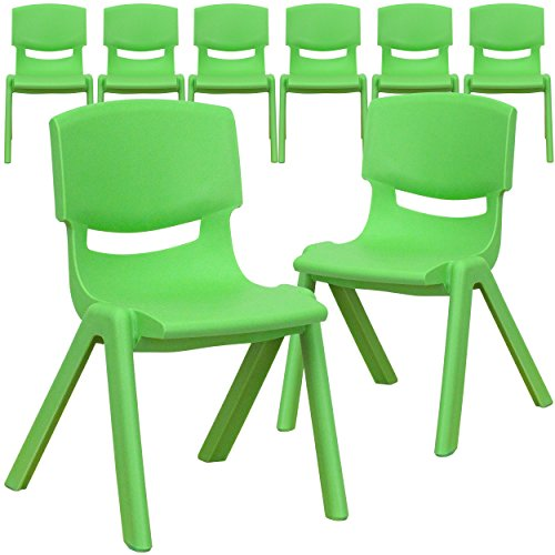 (Flash Furniture 8 Pk. Green Plastic Stackable School Chair with 12'' Seat Height)