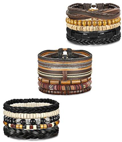 15 Leather Bracelets (FIBO STEEL 15 Pcs Leather Bracelets for Men Women Wooden Bead Bracelet Adjustable)
