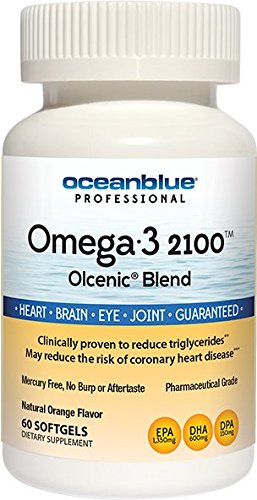 Blend Blue (Ocean Blue | Olcenic Blend | Omega-3 2100 Fish Oil | EPA and DHA | No Fish Aftertaste | 60 Count)