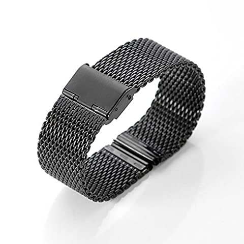 Watch Straps, WOSUK 22mm Watch Replacement Band Metal Stainless Steel Strap Bracelet Universal for Huawei Samsung Asus LG Watchband R380 R381 R382 W100 W150 W110 WI500Q WI501Q (Mesh (22mm Mesh Watchband)