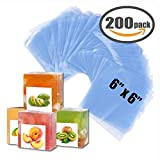 """Shrink Bag 200 PCS Heat Shrink Wrap Bags 6''x6'' & 100 Gauge for Wrapping Bath Bombs, Soaps, Oil & Homemade Gifts (6"""" x 6"""")"""