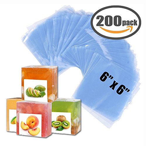 """Shrink Bag 200 PCS Heat Shrink Wrap Bags 6''x6'' & 100 Gauge for Wrapping Bath Bombs, Soaps, Oil & Homemade Gifts (6"""" x - Wrap Gauge Shrink"""