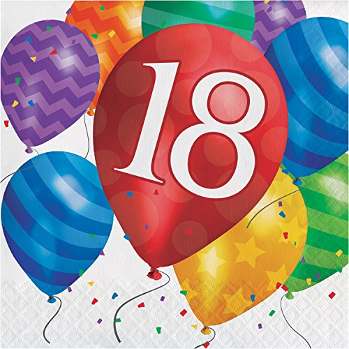 Balloon Blast 18th Birthday Napkins, 48 -