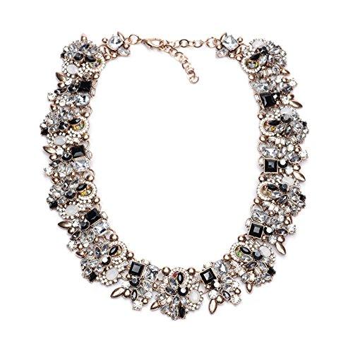 TrinketSea Women Vintage Multi Colors Crystal Glass Chunky Bib Statement Choker Collar Necklace (Black - Glasses Black Chunky