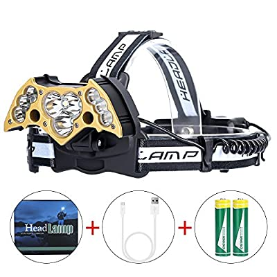 LED Headlamp High Power 6Modes Super Bright Bat-shaped Headlights Adjustable Rechargeable Batteries for Camping Hiking Fishing Running Cycling Reading, USB Headlamps T6 Head Light 8000 Lumen
