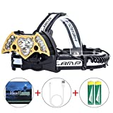 LED Headlamp High Power 6Modes Super Bright Bat-shaped Headlights Adjustable Rechargeable Batteries for Camping Hiking Fishing Running Cycling Reading, USB Headlamps T6 Head Light 6000 Lumen (11LED)