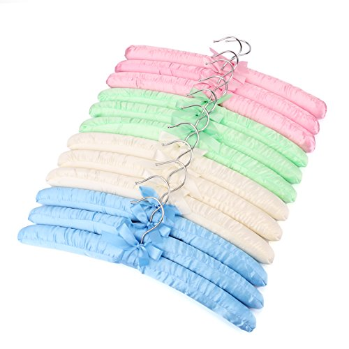 Tosnail Non-Slip Satin Padded Hangers Collection Shirt/Blouse Hangers - Pink, Blue, Green, White (12) ()
