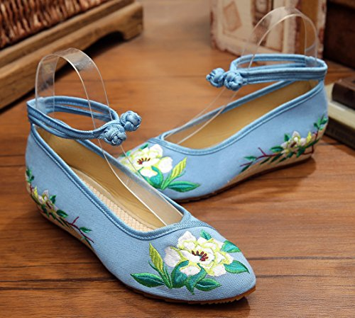 Toe Beijing Sole Embroidery Old AvaCostume Rubber Blue Cheongsam Shoes Point Women xXaq7xES1n