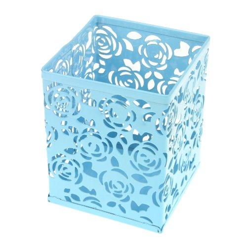 Clobeau Office Products Metal Flower Rose Design Square Pen Holder Case Pencil Cup Box Container Desk Organizer (Blue)