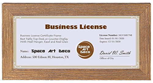 Space Art Deco 4x9 Gold Textured Frame - Easel Stand - D-Ring Hangers - For Business License and Certificates - Desk/Table Top Display - Glass (4x9) by Space Art Deco