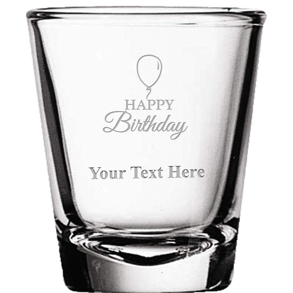 Custom Shot Glasses, Personalized Happy Birthday Shot Glass Gift Engraved Prime
