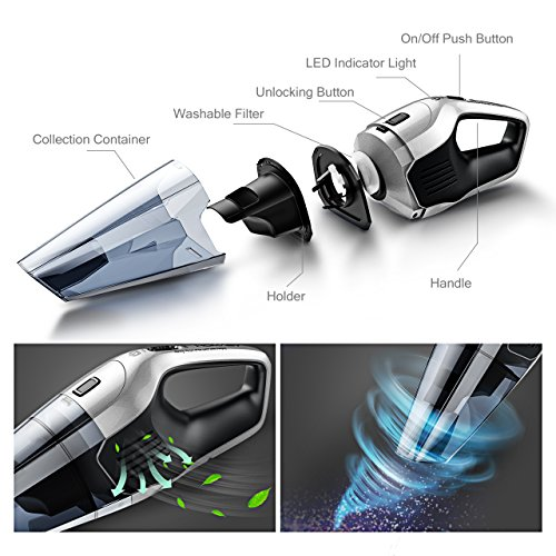 Homasy Cordless Handheld Vacuum Cleaner, 6Kpa Cyclonic Suction Portable Powerful Vacuum Cordless Car, Fast Charge & Charging Base, Wet Dry Vacuum for Pet Hair Cleaning, DC 14.8V Lithium Battery
