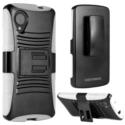 CASEFORMERS Duo Armor WHITE for LG Google Nexus 5 Combo Case with Stand and Holster