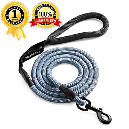 Climbing Rope Dog Leash For Large Medium Dog Breeds - 6 ft Long Nylon Heavy Duty Dog Leash - Premium Quality Reflective Pet Leash By Migoo Pet (6 foot, Deep sea)