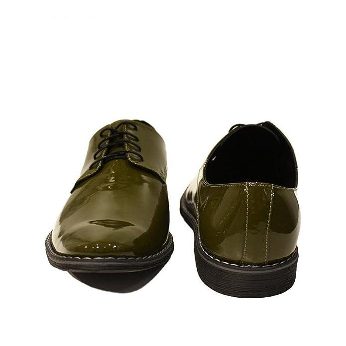 Modello Listo - Cuero Italiano Hecho A Mano Hombre Piel Verde Zapatos Vestir Oxfords - Cuero Charol - Encaje: Amazon.es: Zapatos y complementos