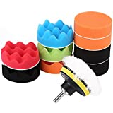 "12Pcs 3"" Automotive Polishing Pads Set, Sponge Buffing Waxing Pad Kit for Car Polisher Buffer with Drill Adapter Car Care Accessories"