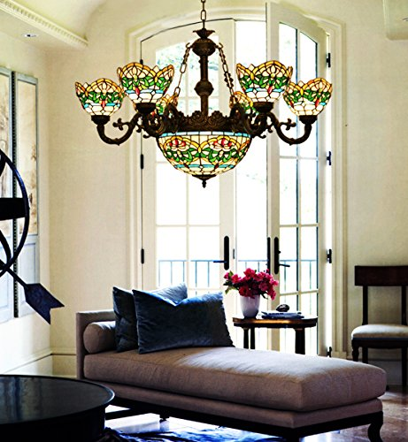Makenier Vintage Tiffany Style Stained Glass 6 Arms Green Stripes Flower Chandelier with 12 Inches Inverted Ceiling Pendant (Six Arm Chandelier)