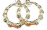 Clip on Bamboo Hoop Earrings Clip Hoop Earrings Gold or Silver tone 3 inch Hoops (gold)