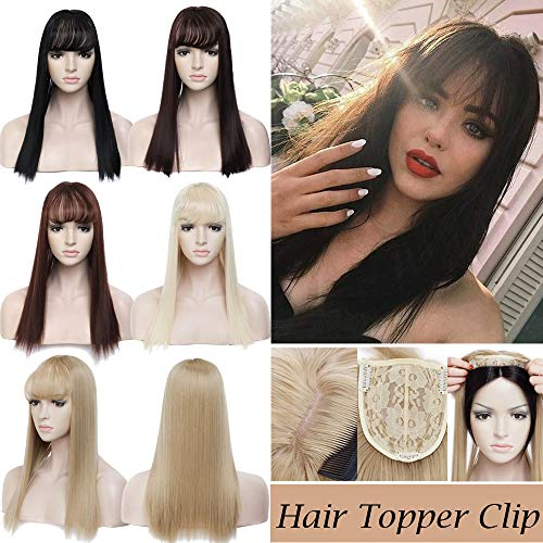 17 Long Straight Hair Topper With Wispy Thin Air Bangs Clip In Crown Toupee Middle Part Synthetic Hairpiece For Women Hair Loss Thinning Hair(17Straight,Dark Black)