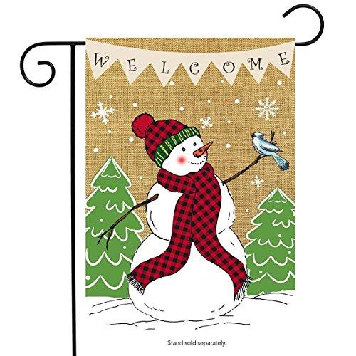 Briarwood Lane Welcome Snowman Burlap Garden Flag Winter 12.5