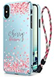 Ringke Slim iPhone X Cute Case for Girls Cherry Blossom Edition Solid Precise Contour Superior Sakura Petal Fashionable Floral Design Thin Cover with Wrist Strap for Apple iPhone 10 / X (Sky Blue)