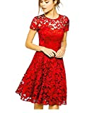 Measoul Women Round Neck Short Sleeve Pleated Lace Mini Party Evening Cocktail Dress Red XL