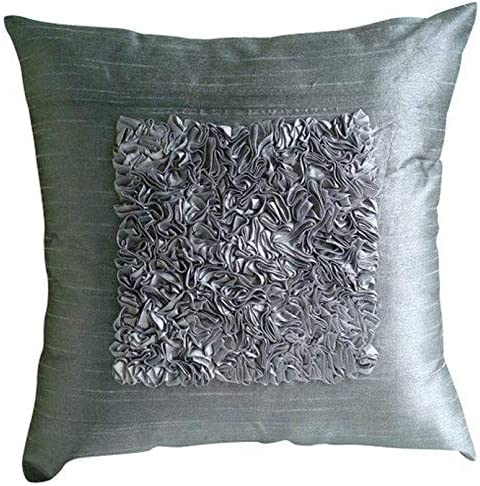 The HomeCentric Handmade Silver European Pillow Covers 26×26 inch 65×65 cm , Silk Euro Pillow Shams, Solid Color, Ribbon Embroidery, Modern European Sham Pillow Covers – Love Vintage