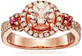 10k Rose Gold Morganite, Pink Tourmaline and Diamond Princess Diana Round Classic Halo Ring (1/3cttw H-I Color, I1-I2 Clarity), Size 7