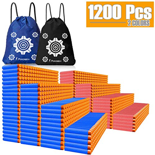 POKONBOY Compatible with Nerf Darts Bullets - 1200 Pack Refill Bullet Darts Compatible with Nerf Guns N-Strike Elite Series Gun Toys for Boys Party Favors with Storage Bags(Red and Blue) ()