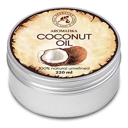Aceite de Coco 220ml - Aceite de Coco Nucifera - Indonesia - 100% Puro y Natural - Prensado en Frio - Mejores Beneficios para el Cuidado del Cabello de la Piel - Aceites Sin Refinar