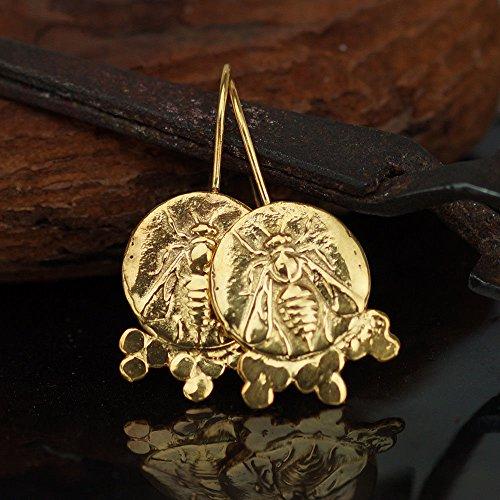 925 Sterling Silver Bee Coin Granulated Earrings 24k Gold Vermeil Handcrafted Turkish Fine Jewelry Women Earrings Roman Art Design