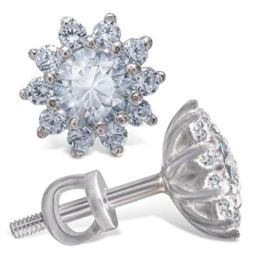 Stud Earrings - Sterling Silver Stud Earrings S925 - CZ Round Crystal Cubic Zirconia Stud Earrings - Rhodium Plated Screw Back Earrings for Women Fashion - Hypoallergenic 10 PRONG! 11 STONES!