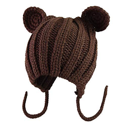 Cute Newborn Baby Girls Cat Ears Knitting Headgear Warm Ear Guard Kids Hat Cap Outdoor Beanie for Girl Coffee ()