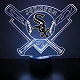 Mirror Magic Store White Sox Baseball LED Night Light with Free Personalization - Night Lamp - Table Lamp - Featuring Licensed Decal