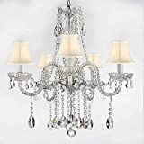AUTHENTIC ALL CRYSTAL CHANDELIERS LIGHTING EMPRESS CRYSTAL (TM) CHANDELIERS WITH WHITE SHADES H27″ X W24″